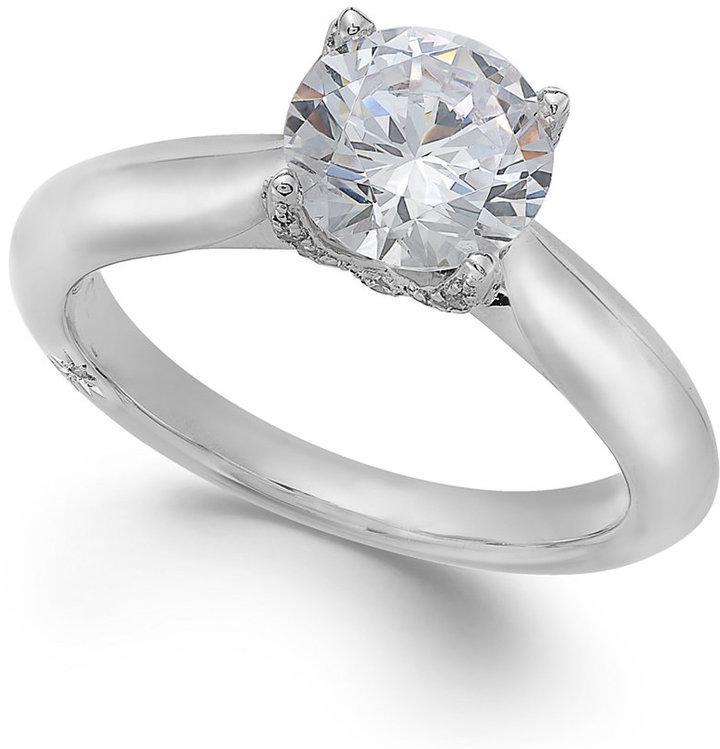 زفاف - Marchesa Certified Diamond Solitaire Engagement Ring in 18k White Gold (1-5/8 ct. t.w.)