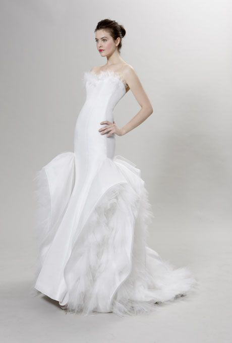 Wedding - Peter Langner - Fall 2012 - Berlioz Strapless Silk Mermaid Wedding Dress With Tulle Flowers And Ruffle Skirt