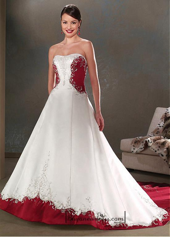 Wedding - Beautiful Elegant Satin A-line Sleeveless Wedding Dress In Great Handwork