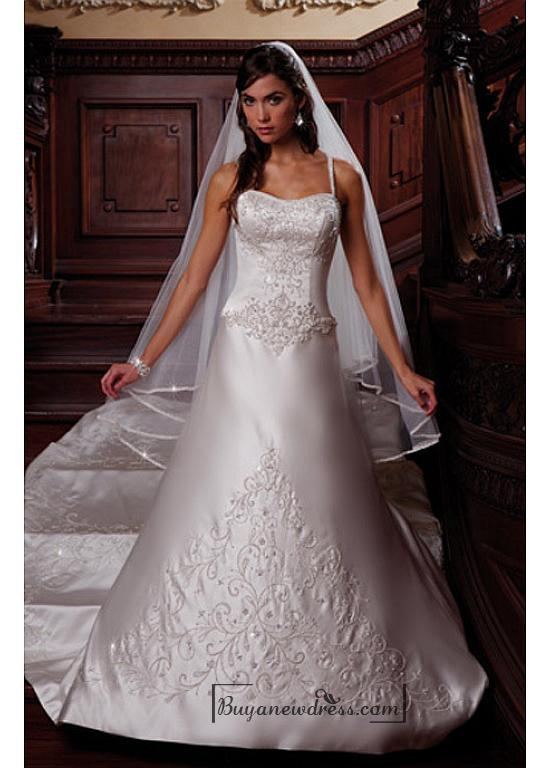 Hochzeit - Beautiful Elegant Satin A-line Spaghetti Straps Wedding Dress In Great Handwork