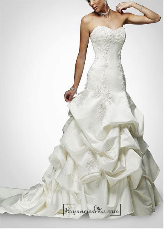 Mariage - Beautiful Elegant Satin A-line Strapless Wedding Dress In Great Handwork