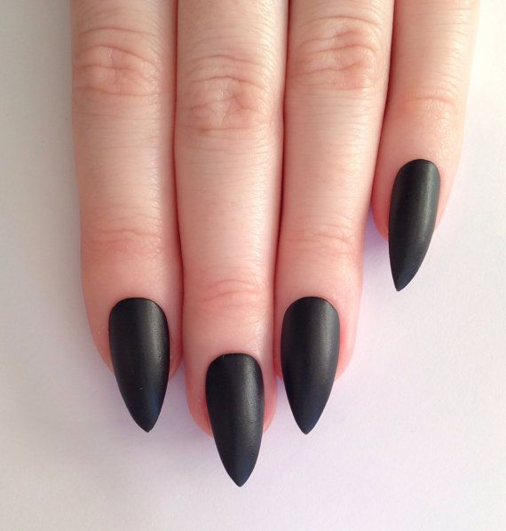 Matte Black Stiletto Nails Nail Designs Art Acrylic Pointy Fake