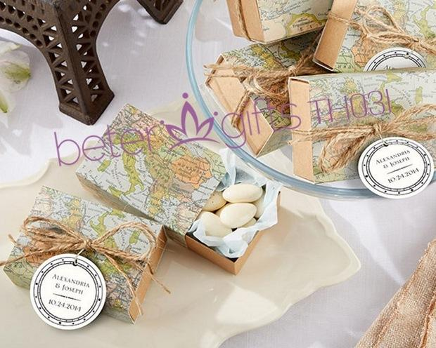 Unique Wedding Gift Ideas: World Map Favor Box TH031-A0 Unique Wedding Gift Ideas