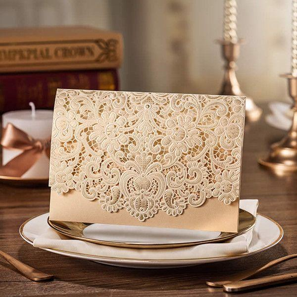 Свадьба - Gold Laser Cut Envelope Wedding Invitations EWWS024