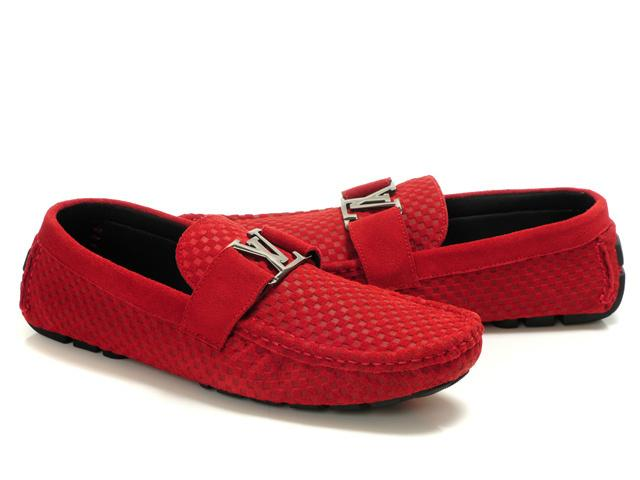 d54ce23b248e Louis Vuitton LV Initials Red Men s Pane Leather Loafers Shoes ...