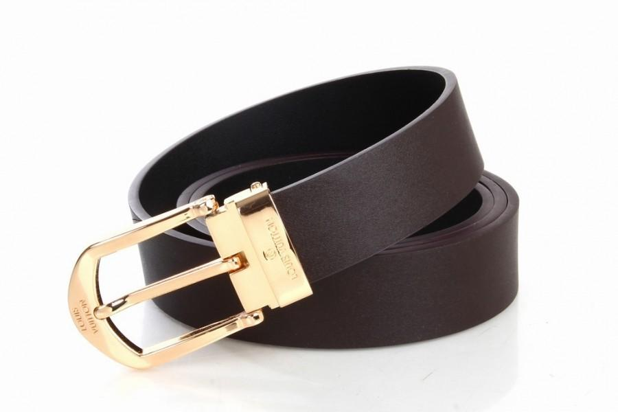 Mariage - Louis Vuitton Brown LV Leather Belt with Golden Buckle