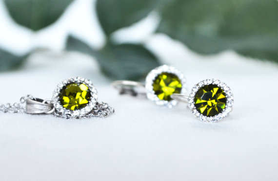 Wedding - #oilgreen #bridal #bridesmaids #wedding #jewelryset #artdeco #clearcrystal #rhinestone #necklace #earrings  #chic