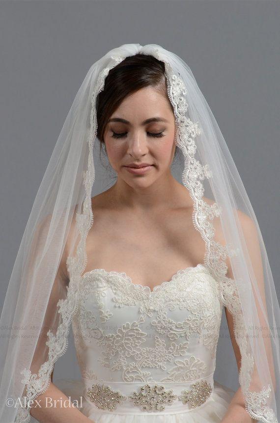 زفاف - Mantilla Veil Bridal Veil Wedding Veil Elbow Alencon Lace