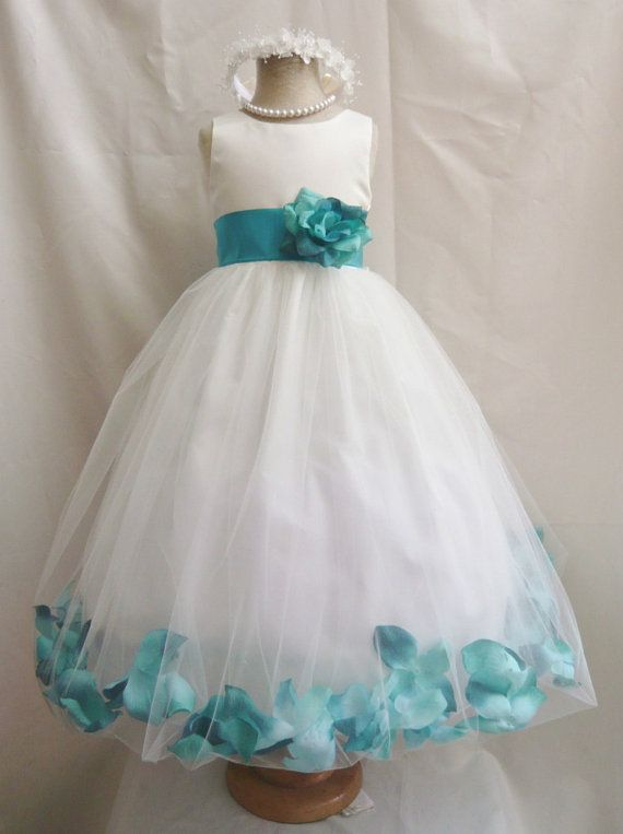 Flower Girl Dresses - IVORY With Teal Rose Petal Dress (FD0PT ...