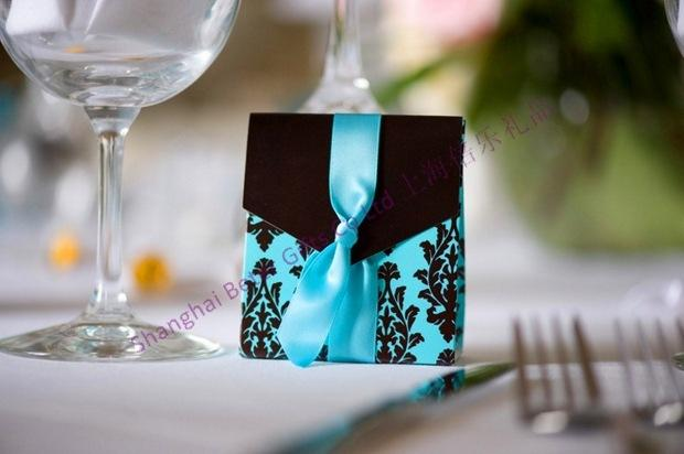 Mariage - Turquoise Tapestry Favor Boxes  (with Ribbon)
