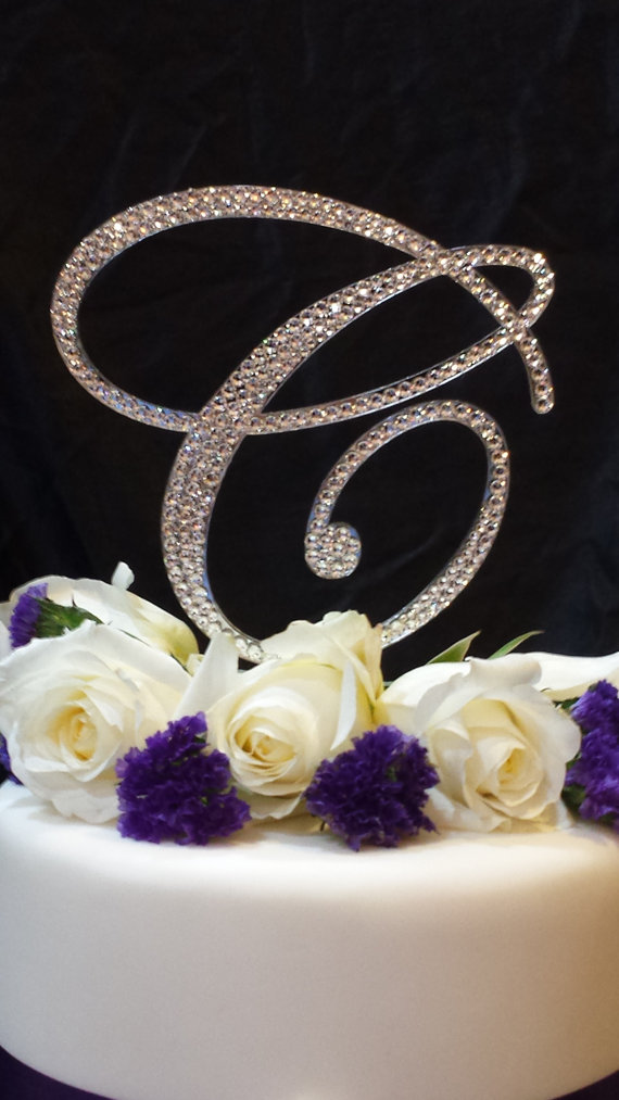 6 Tall Initial Monogram Wedding Cake Topper Swarovski Crystal Rhinestone Letter A B C D E F G H I J K L M N O P Q R S T U V W X Y Z