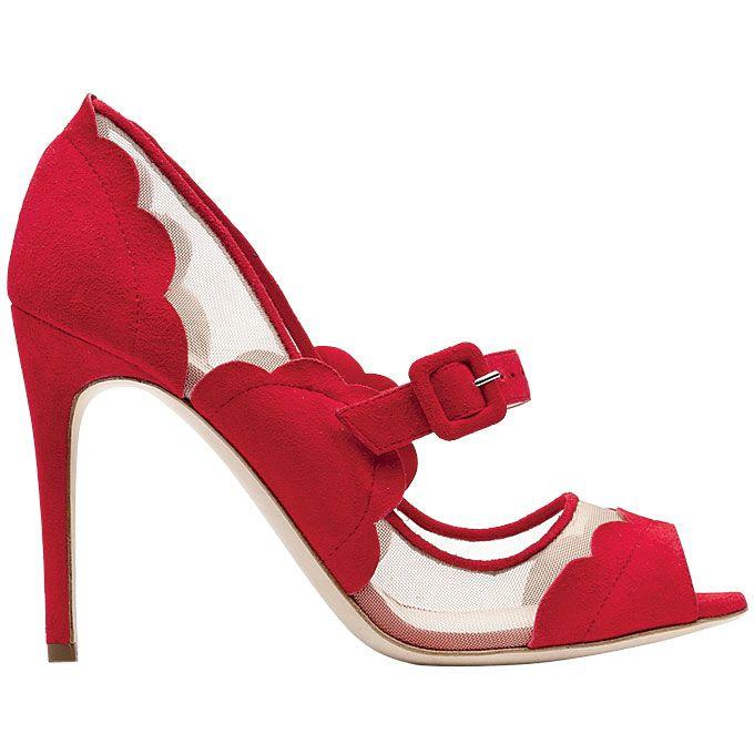 Rupert Sanderson - Red Suede And Mesh Mary Jane Heels Wedding ...