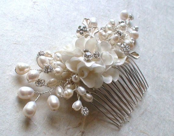 Bridal Headpiece Wedding Hair Accessories Flower Comb Pearl Piece