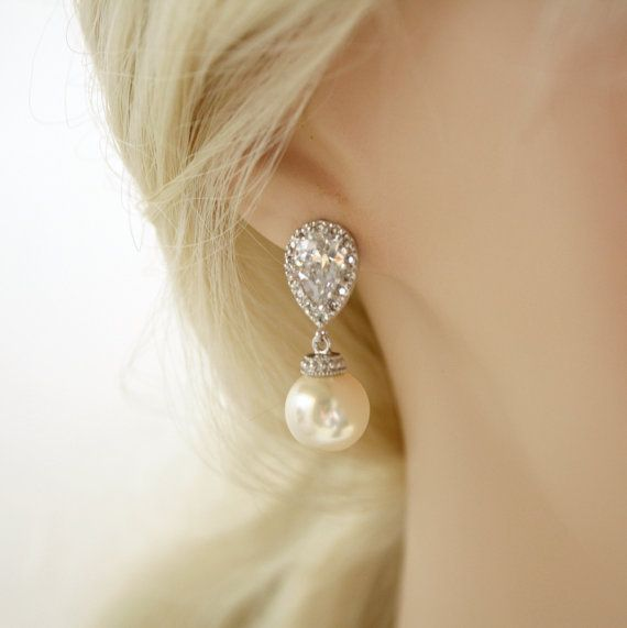 Mariage - Pearl Bridal Earrings Bridal Jewelry Cream OR White Ivory Pearl Cubic Zirconia Posts Silver With Swarovski Wedding Jewelry