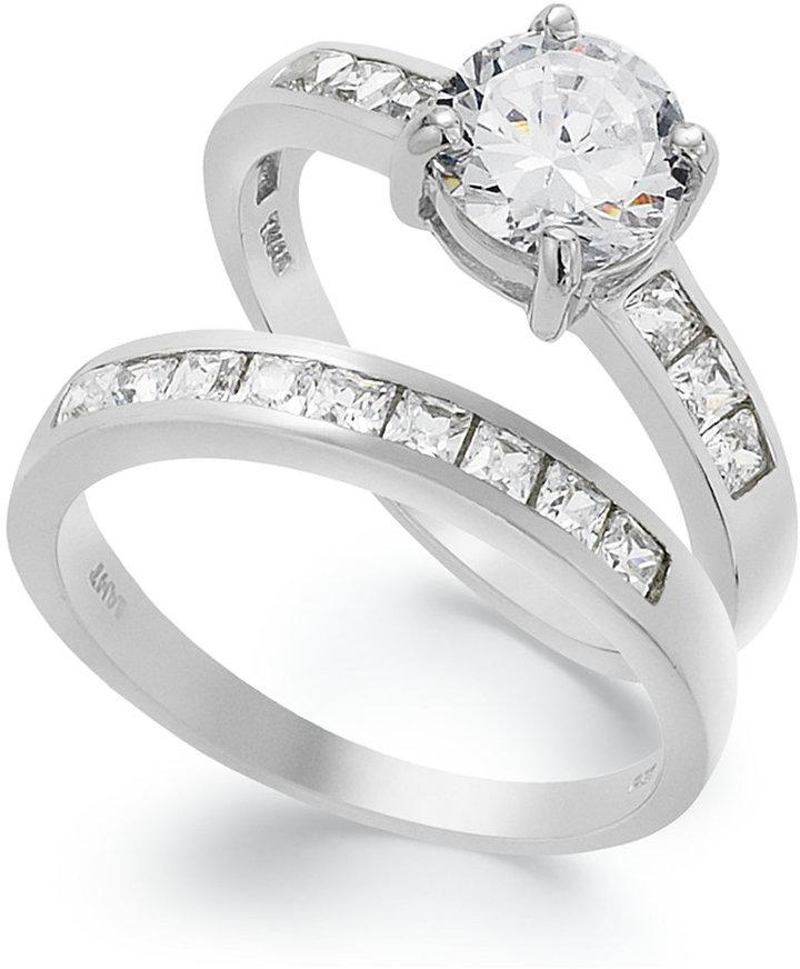 Great B. Brilliant Sterling Silver Ring Set, Cubic Zirconia Engagement Ring And  Wedding Band Set (2 3/4 Ct. T.w.) Design Inspirations