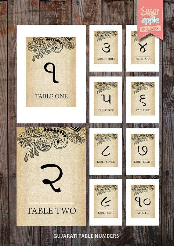 Свадьба - Printable Table Numbering Indian Weddings Vintage Theme 'gujarati Indian Wedding Table Numbers 1-10