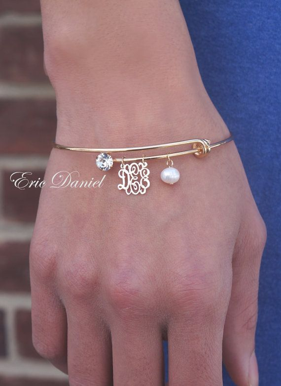 Personalized Monogram Bangle Alex And Ani Inspired Choose Your Initials Gold Yellow