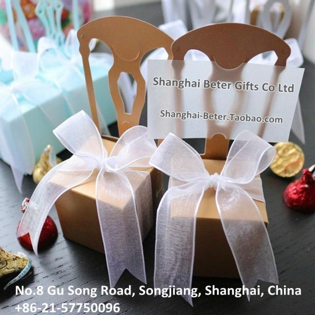 Wedding - Miniature Gold Chair Favor Box w/  Ribbon