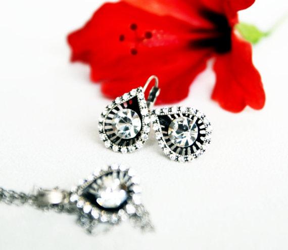 Wedding - #teardrop #wedding #bridal #bridesmaids #sparkle #artdeco #jewelry #clearcrystal #swarovski #rhinestone #necklace #earrings #gift #chic