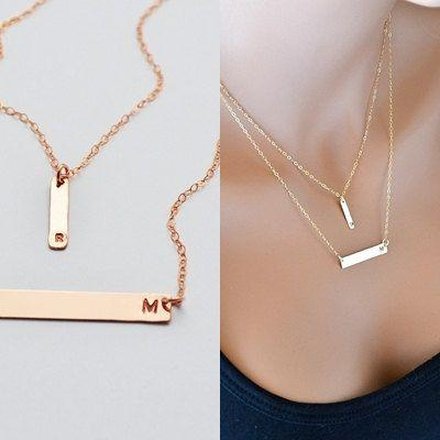 Свадьба - Rose Gold Bar Necklace, Layered Necklace, Initial Necklace, Personalized Jewelry, Double Strand Necklace