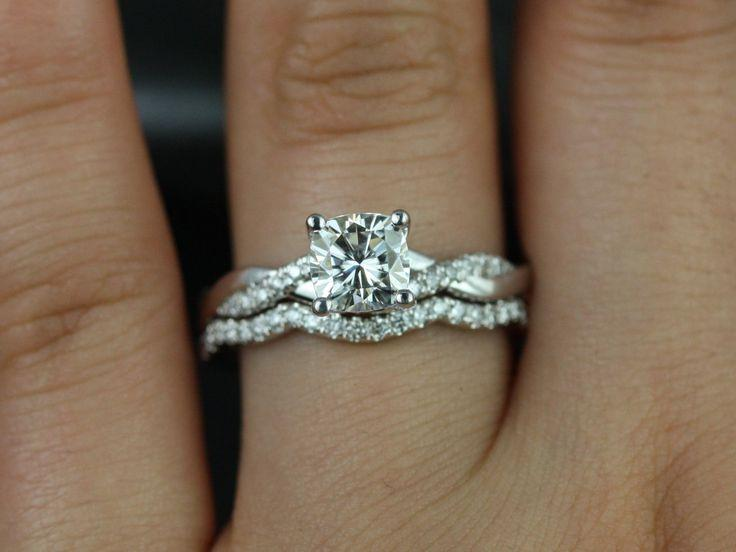 Свадьба - Tressa 14kt White Gold Cushion FB Moissanite And Diamonds Twist Wedding Set(Other Metals And Stone Options Available)