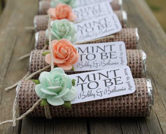 Mint Wedding Favors Set Of 24 Rolls To Be With Personalized Tag Burlap And Peach Rustic Shabby Chic