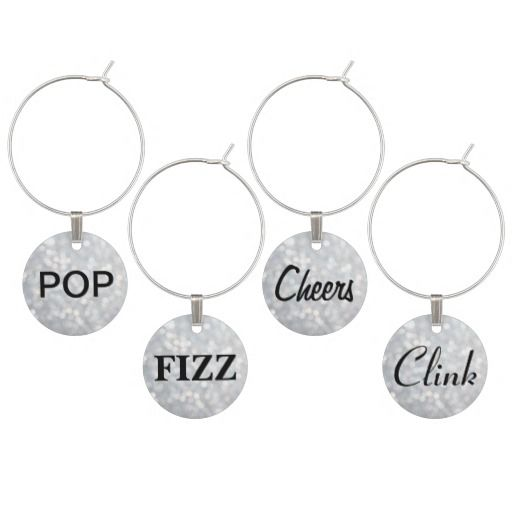 Wedding - Pop, Fizz, Cheers, Clink Wine Charms