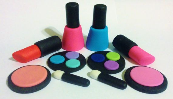 Makeup Glamour Package Fondant Cake Cupcake Toppers