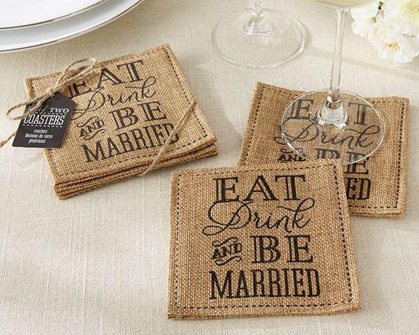 Wedding - Burlap Wedding Favor Coasters