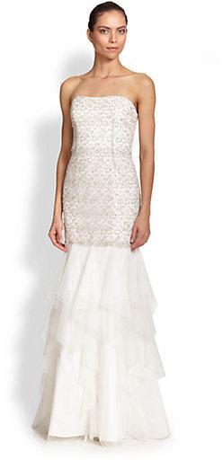 Wedding - Aidan Mattox Strapless Sequined Gown
