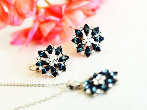 Wedding - navy blue art deco clear crystal swarovski rhinestone necklace earrings wedding jewelry bridal jewelry bridesmaids jewelry set