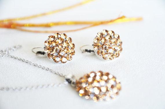 Wedding - art deco clear crystal champagne swarovski rhinestone necklace earrings wedding jewelry bridal jewelry bridesmaids jewelry set