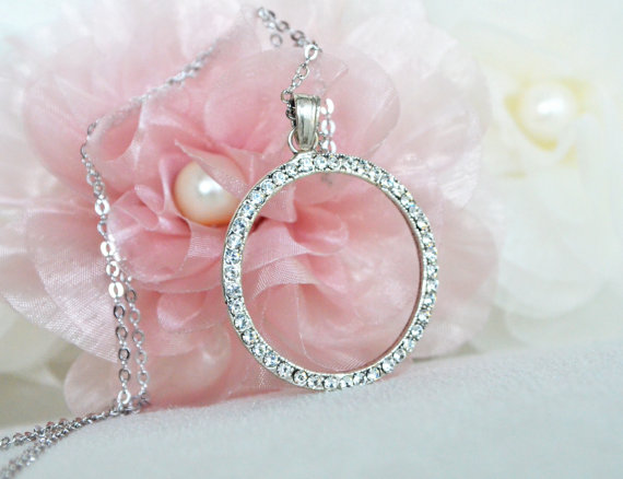 Свадьба - art deco clear crystal rhinestone tibetan silver plated circle necklace bridesmaids gifts