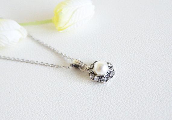 Mariage - art deco clear crystal swarovski pearl rhinestone tibetan silver plated necklace wedding jewelry bridal jewelry bridesmaids jewelry gifts