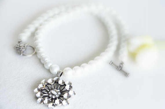 Mariage - art deco clear crystal swarovski rhinestone tibetan silver plated white glass pearl necklace wedding bridal jewelry bridesmaids jewelry gift
