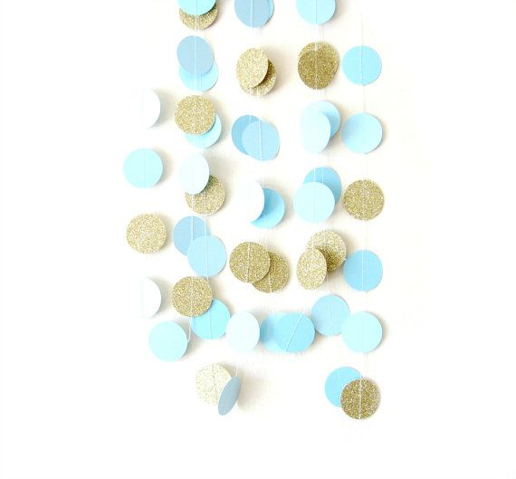 زفاف - Blue & Gold Glitter Circle Garland - Gold Glitter Garland, Gold Shimmer Garland, Glitter Circle Garland, Gold Glitter Wedding