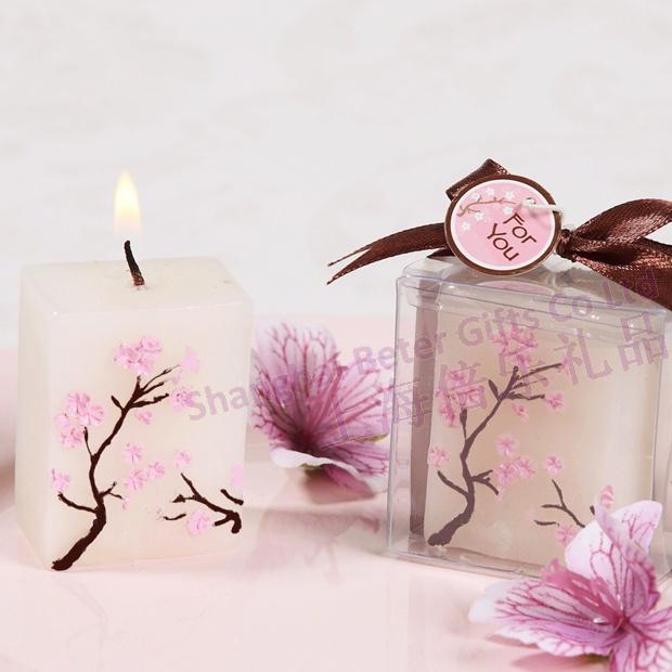 Hochzeit - Cherry Blossom Mini-Pillar Candle