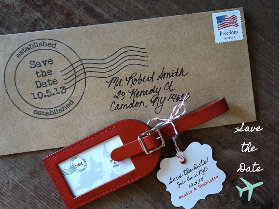 Wedding Favors - Ship-A-Save The Date Leather Luggage Tag #2207582 ...