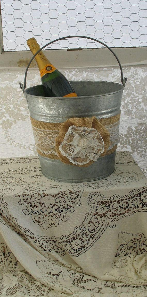 Wedding - Champagne Bucket For Rustic Burlap And Lace Wedding Country Shabby Chic Wedding