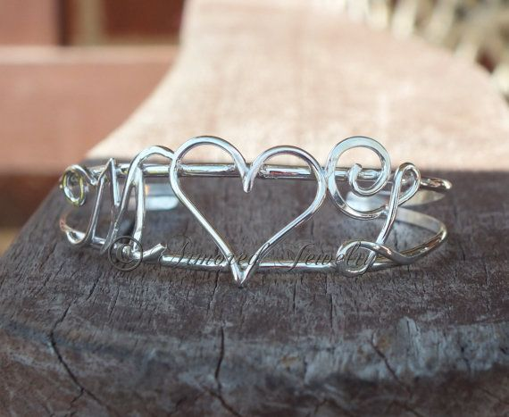 Hochzeit - Sterling Silver Monogram Initials Personalized Cuff Bangle Bracelet - Couples - Mothers - Customized