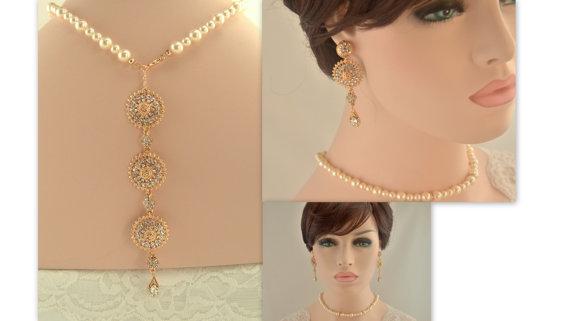 Boda - Bridal back drop necklace set -Rose gold vintage inspired art deco Swarovski crystal rhinestone bridalback drop necklace and dangle earrings