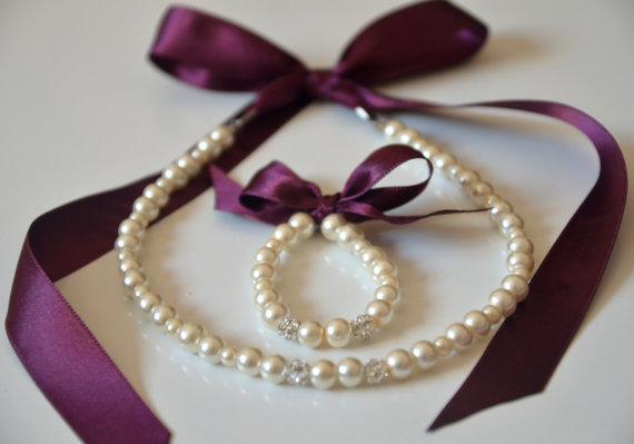 Свадьба - Egg plant flower girl jewelry set adjustable necklace and stretchy bracelet with swarovski crystal balls wedding jewelry flower girl