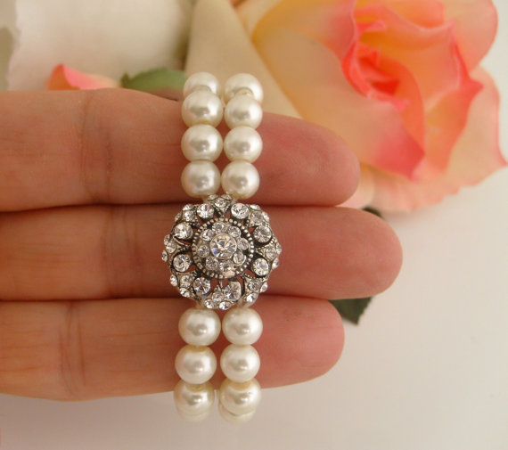 Wedding - Vintage style art deco swarovski crystal flower girl gift stretchy cuff bracelet for little princess' wedding jewelry cuff bracelet