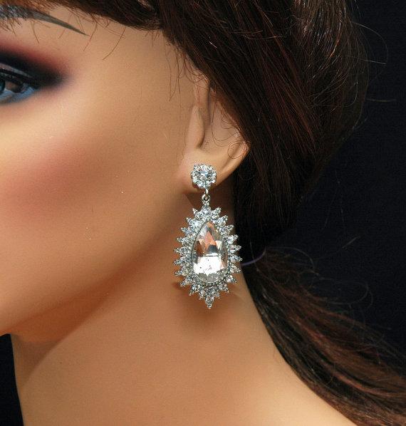 Bridal Earrings Swarovski Crystal Chandelier Pearl Wedding Austrian Diamante Jewellery Etsy