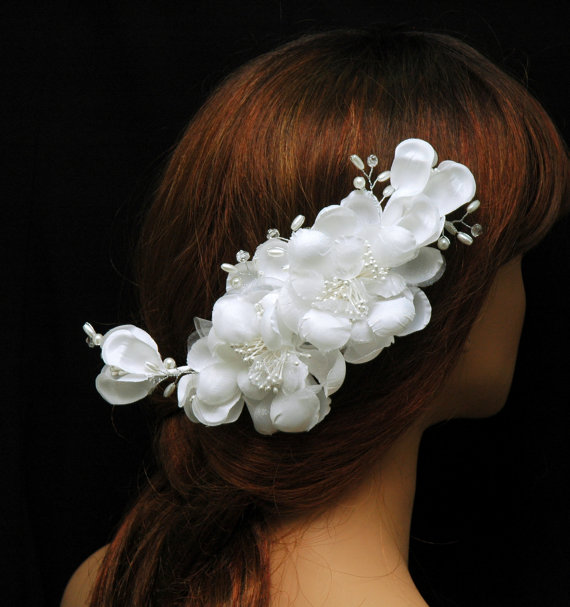 Flower Bridal Hair Comb Silk Flower Headpiece Bridal Hair White