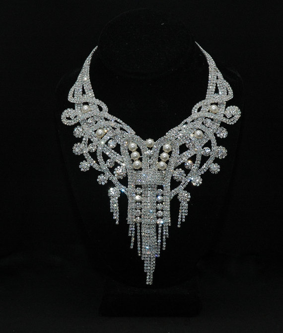 Bridal Necklace Art Deco Crystal Set Wedding Rhinestone Pearl Choker And Earring Diamante
