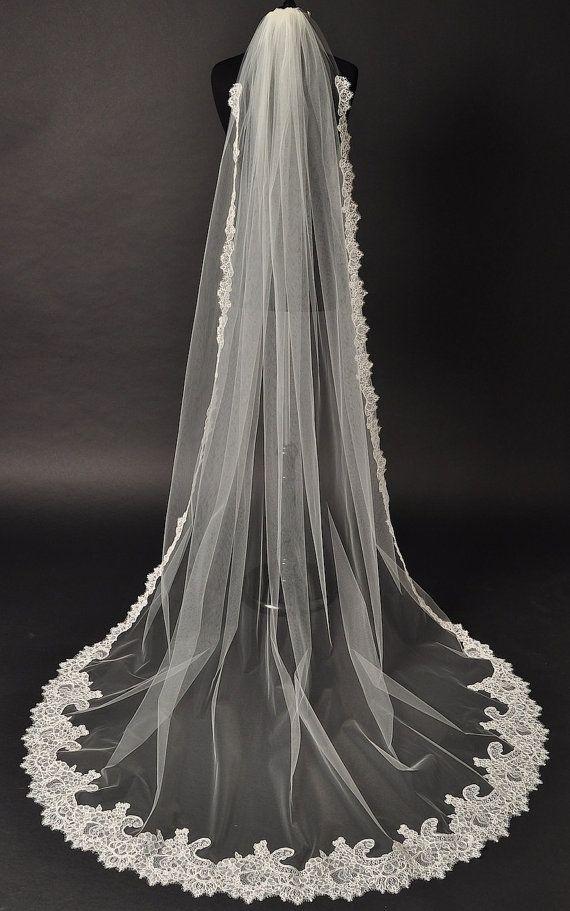 Hochzeit - Cathedral Lace Veil, Alencon Lace Bridal Veil, Couture Bridal Veil, Chapel Veil, Wedding Veil, Single Layer Veil, Ivory Veil, Diamond Veil