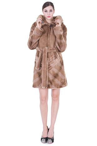 Mariage - Faux light brown mink fur with ruby button middle women coat coat
