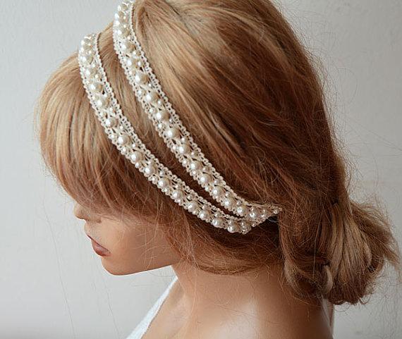 Свадьба - Rustic Wedding Headband, Lace and Pearl Headband, Wedding Hair Accessory, Bridal Hair Accessory
