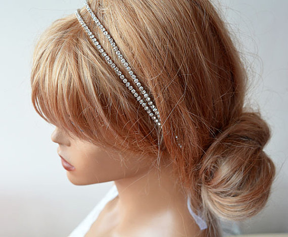 Bridal Hair Accessories Double Rhinestone Headband Wedding